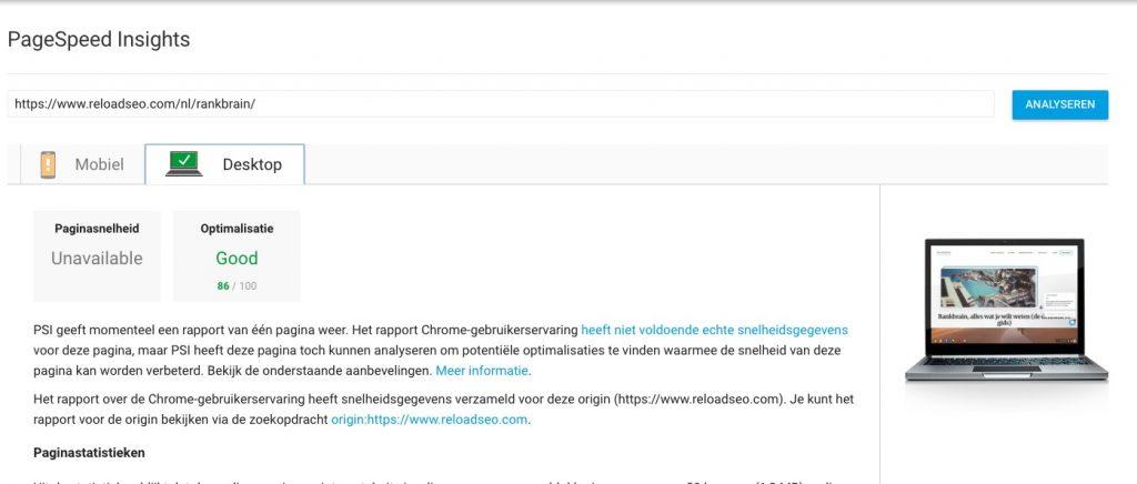 Resultaten PageSpeed implementeren voor je SEO