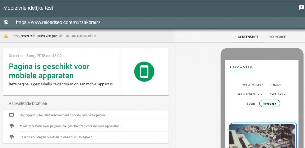 Mobiele apparaten check voor SEO