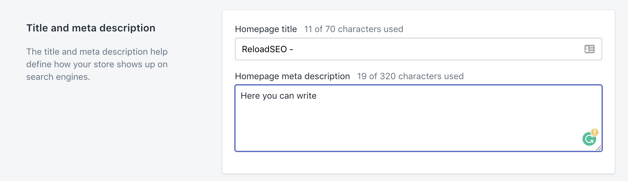 Editing the meta description of your home page